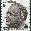 Stock Photo: Postage stamp printed in USA, shows portrait of 32th President of United States, Franklin Delano Roosevelt