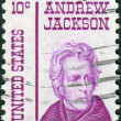 Postage stamp printed in USA, shows portrait of 7th President of United States, Andrew Jackson by Thomas Sully — Stock Photo #36493593