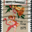 A postage stamp printed in USA, Christmas Issue, shows Christmas postcard by Louis Prang — Stock Photo