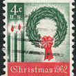 Postage stamps printed in USA, Christmas Issue, shows Wreath and Candles — Stock Photo