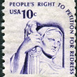 A postage stamp printed in USA, shows Contemplation of Justice by James Earle Fraser — Stock Photo