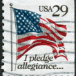 A postage stamp printed in USA, shows a U.S. flag State (Pledge of Allegiance) — Stock Photo