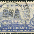 Postage stamp printed in the USA, dedicated to the 75th anniversary of Colorado statehood — Foto Stock