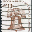 A postage stamp printed in USA, shows the Liberty Bell — Stock Photo #36495361