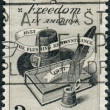 Postage stamps printed in USA, Religious Freedom Issue, dedicated to the 300th anniversary of the Flushing Remonstrance, shows Bible, Hat and Quill Pen — Stock Photo