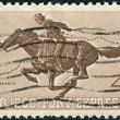 A postage stamp printed in USA, Pony Express Centennial Issue, shows Pony Express Rider — Stock Photo