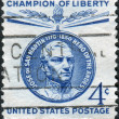 Postage stamps printed in USA, Champion of Liberty Issue, depicts a South American general and politician Jose de San Martin — Stock Photo