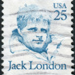 A postage stamp printed in USA, shows a portrait of an American author, journalist, and social activist, Jack London — Foto de Stock