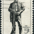 Stock Photo: Postage stamps printed in USA, shows Sam Houston (1793-1863), soldier, president of Texas, US senator