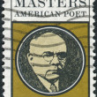 A postage stamp printed in USA, shows Edgar Lee Masters (1869-1950), Poet — Stok fotoğraf