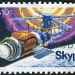 Postage stamp printed in the USA, dedicated to the 1st anniversary of the launching of Skylab and to honor all who participated in the Skylab projects, shows the space station Skylab — Stock Photo