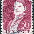 Stock Photo: Postage stamp printed in USA, shows portrait of prominent Americorator, abolitionist, and suffragist, Lucy Stone by John W.Jarvis