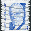 A postage stamp printed in USA, shows a portrait of American physician and cardiologist, Paul Dudley White — Stock Photo