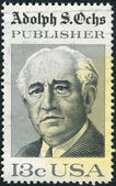 A postage stamp printed in USA, shows Adolph S. Ochs, Publisher of the NY Times — Stock Photo