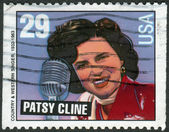 Postage stamps printed in USA, shows Hank Williams Type and Patsy Cline — Stock Photo