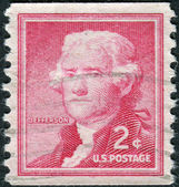 A postage stamp printed in USA, shows portrait 3th President of the United States, Thomas Jefferson by G.Stuart — Stock Photo