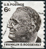 A postage stamp printed in USA, shows a portrait of 32th President of the United States, Franklin Delano Roosevelt — Stock Photo
