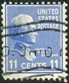 Postage stamp printed in the USA, a portrait of 11th President of the United States, James Knox Polk — Stock Photo