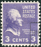 Postage stamp printed in the USA, a portrait 3th President of the United States, Thomas Jefferson — Stock Photo