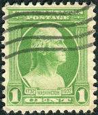 Postage stamp printed in the USA, a portrait of 1st President of the United States, founder of the United States, George Washington — Stock Photo