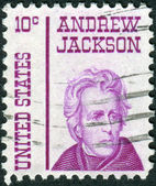 A postage stamp printed in USA, shows a portrait of 7th President of the United States, Andrew Jackson by Thomas Sully — Stock Photo