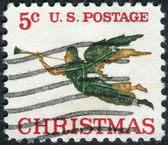Postage stamps printed in USA, Christmas Issue, shows a weathervane in the form of the Archangel Gabriel with Trumpet — Stock Photo