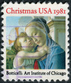 "A postage stamp printed in USA, Christmas Issue, shows a picture of the Art Institute of Chicago, ""Madonna and Child"" by Sandro Botticelli — Stock Photo"