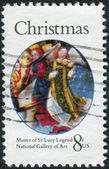 "A postage stamp printed in USA, Christmas Issue, shows detail from a painting by the Master of the St. Lucy Legend. Angel from ""Mary, Queen of Heaven"" — Stock Photo"