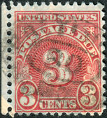 A postage stamp printed in USA, shows figure 3, the price value — Stock Photo