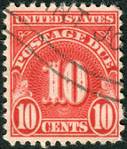 A postage stamp printed in USA, shows the number 10, the price value — Stock Photo