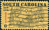 A postage stamp printed in the USA, dedicated to the 300th anniversary of the founding of Charles Town (Charleston), the 1st permanent settlement of SC — Stock Photo