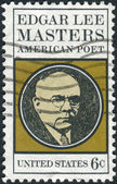 A postage stamp printed in USA, shows Edgar Lee Masters (1869-1950), Poet — ストック写真