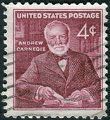 A postage stamp printed in USA, shows Andrew Carnegie, industrialist and philanthropist — Stock Photo