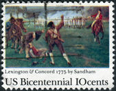 "A postage stamp printed in the USA, dedicated to the 200th anniversary of the Lexington-Concord Battle, shows ""Birth of Liberty"" by Henry Sandham — Stock Photo"