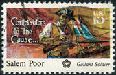 A postage stamp printed in the USA, dedicated to the American Bicentennial Contributors to the Cause, shows Salem Poor — Stock Photo