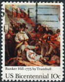 A postage stamp printed in the USA, dedicated to the 200th anniversary of the Battle of Bunker Hill, shows Battle of Bunker Hill, by John Trumbull — Stock Photo