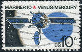 A postage stamp printed in USA, shows a space probe Mariner 10, Venus and Mercury in the background Sun — Stok fotoğraf
