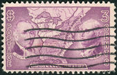 Postage stamp printed in the USA, shows Manasseh Cutler, Rufus Putnam and Map of Northwest Territory — Stock Photo