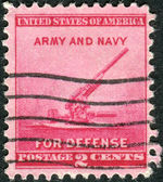 Postage stamp printed in the USA, National Defense Issue, shows a 90-millimeter Antiaircraft Gun — Stock Photo