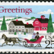 A postage stamp printed in USA, Christmas Issue, shows a One-horse Open Sleigh and Village Scene — Stock Photo