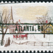 Stock Photo: Postage stamp printed in US(overprint ATLANTA, GA), Christmas Issue, shows Winter Sunday in Norway, Maine