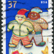 Postage stamps printed in USA, Christmas Issue, shows a Christmas Cookies, Elves — Stock Photo