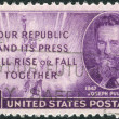 Stock Photo: Postage stamp printed in USA, shows Joseph Pulitzer (birth centenary) and Statue of Liberty