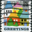 A postage stamp printed in USA, Christmas Issue, shows a Village Scene — Stock Photo