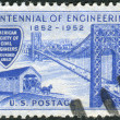 Stock Photo: Postage stamp printed in USA, dedicated to Centenary of founding of AmericSociety of Civil Engineers, shows George Washington Bridge and Covered Bridge of 1850s