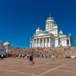 Stock Photo: Helsinki Cathedral and spectators in Senate Square. Latin dance festival