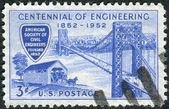 Postage stamp printed in the USA, dedicated to the Centenary of the founding of the American Society of Civil Engineers, shows the George Washington Bridge and Covered Bridge of 1850s — Stock Photo