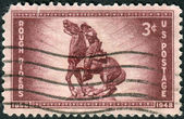 "Postage stamp printed in the USA, dedicated to the 50th anniversary of the organization of the Rough Riders of the Spanish-American War, shows Statue of Capt. William Owen ""Buckey"" O'Neill — Stock Photo"