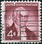 Postage stamp printed in the USA, Honoring Dr. Ephraim McDowell on the 150th anniversary of the 1st successful ovarian operation performed in the US — Stock Photo