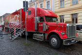 "Coca-Cola iconic Christmas truck at ""Holidays are coming"" at the Christmas market — Stock Photo"